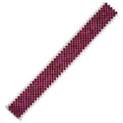 150 Carat Ruby Buff-Top Flexible Bracelet with Diamonds Platinum in Stock