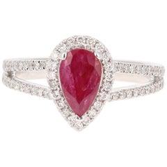 1.50 Carat Ruby Diamond 18 Karat White Gold Engagement Ring