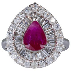 1.50 Carat Ruby Ring with Diamonds 18 Karat Gold