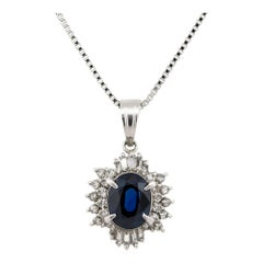 1.50 Carat Sapphire Center Diamond Halo Pendant Necklace Platinum in Stock