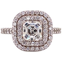 1.50 Carat Square Emerald Cut Diamond Halo Engagement Ring GIA Certified