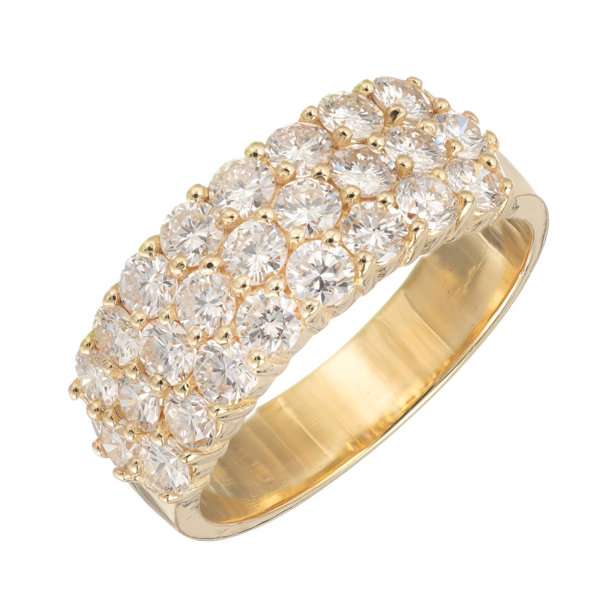 1.50 Carat Three-Row Diamond Gold Wedding Band Ring
