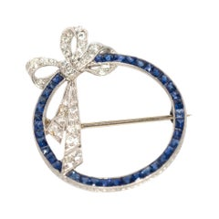 1.50 Carat Total Weight Sapphire Platinum Brooch