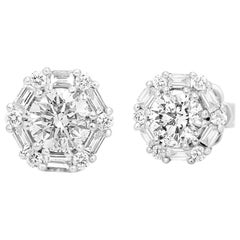1.50 Carat Total Weight White Diamond Round Single Halo Gold Stud Earring
