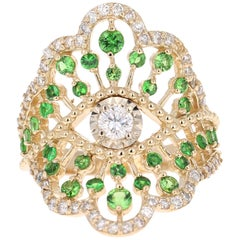 1.50 Carat Tsavorite Diamond 14 Karat Yellow Gold Cocktail Ring