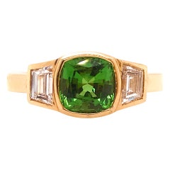1.50 Carat Tsavorite Garnet Gemstone & .50 Carat Diamond Custom Three Stone Ring