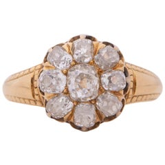 1.50 Carat Victorian Diamond 14 Karat Yellow Gold Engagement Ring