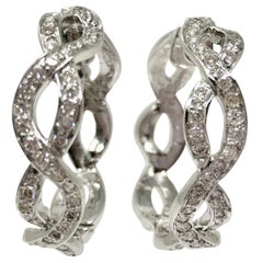 1.50 Carat White Diamond Hoop Earrings in 18 Karat White Gold