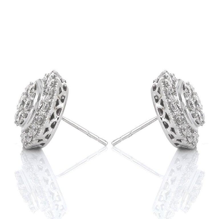 Modern 1.50 Carat White Gold Diamond Cluster Stud Earring For Sale