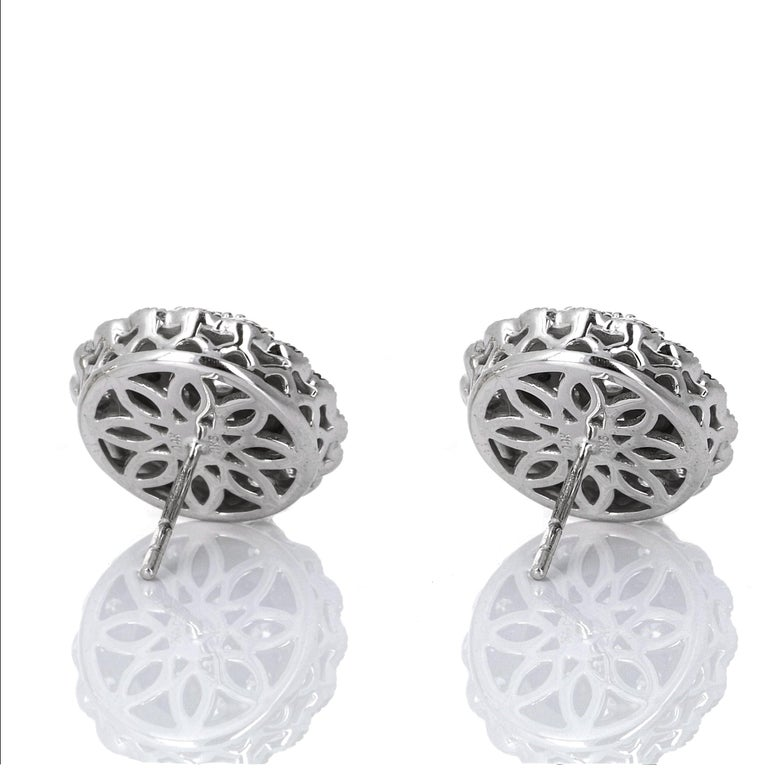 Round Cut 1.50 Carat White Gold Diamond Cluster Stud Earring For Sale