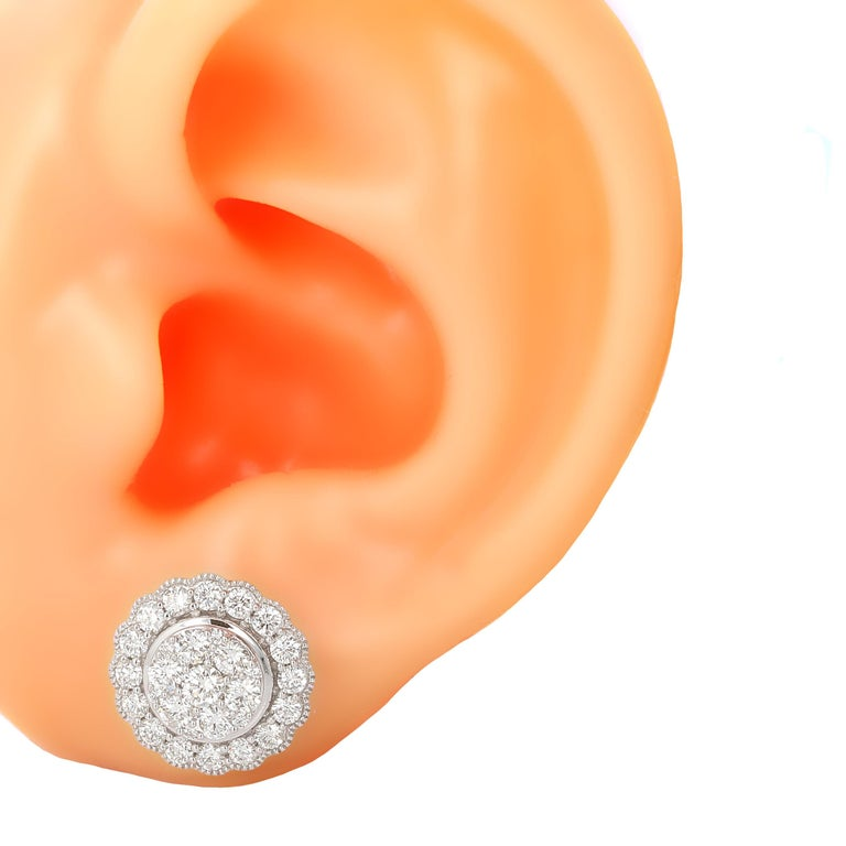 1.50 Carat White Gold Diamond Cluster Stud Earring In New Condition For Sale In Beverly Hills, CA