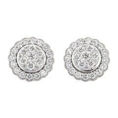 1.50 Carat White Gold Diamond Cluster Stud Earring