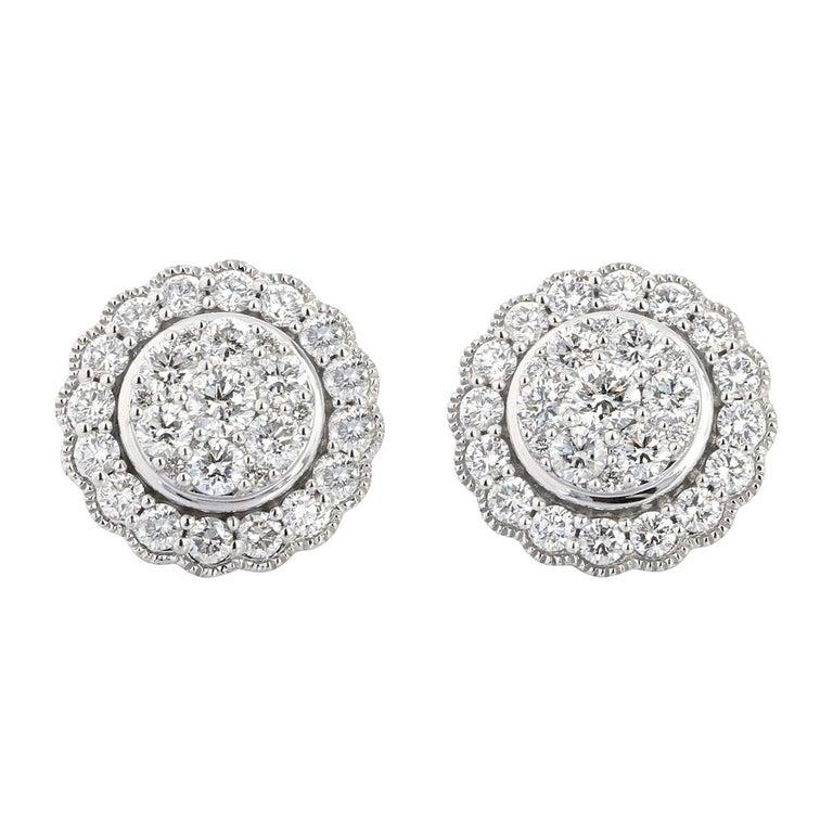 1.50 Carat White Gold Diamond Cluster Stud Earring For Sale