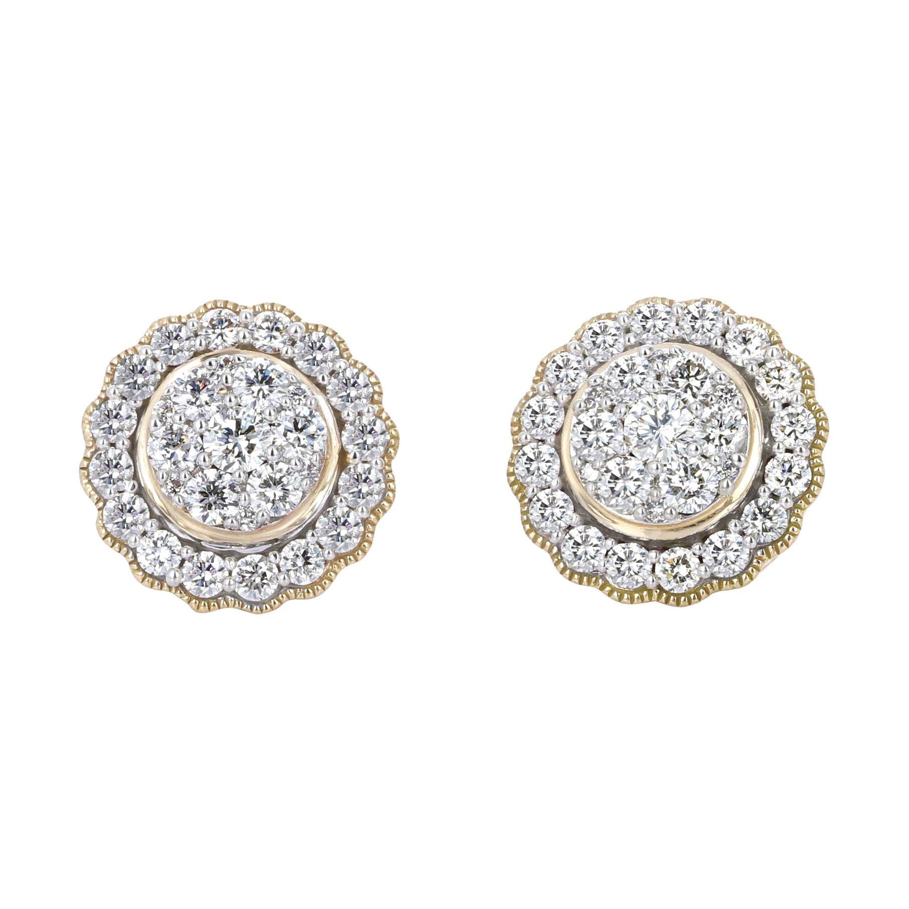 1.50 Carat Yellow Gold Diamond Cluster Stud Earrings