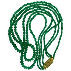 150 Carat 3 Layer Brazilian Emerald Bead Necklace Sterling Silver Clasp