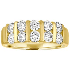 1.50 Carat Diamond Two-Row Gold Half Band Ring