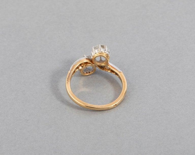 Old European Cut 1.50 Carat Diamonds French Antique Toi et Moi Ring For Sale