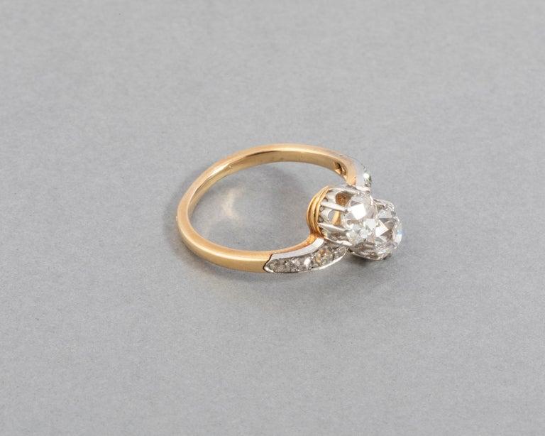 Women's 1.50 Carat Diamonds French Antique Toi et Moi Ring For Sale