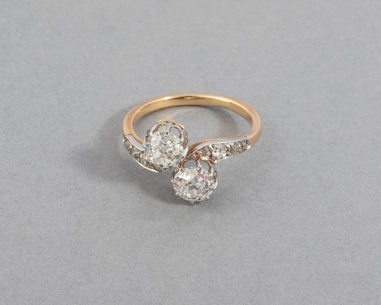 1.50 Carat Diamonds French Antique Toi et Moi Ring For Sale 1