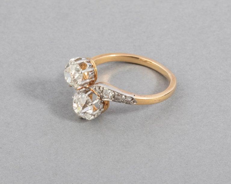 1.50 Carat Diamonds French Antique Toi et Moi Ring For Sale 2