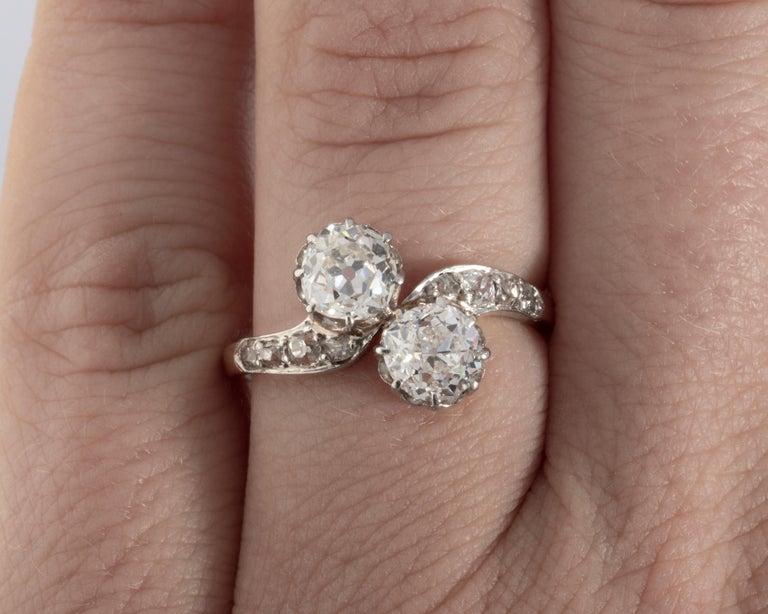 1.50 Carat Diamonds French Antique Toi et Moi Ring For Sale 3