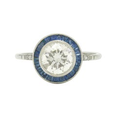 1.50 Ct Round Diamond Engagement Ring Art Deco Style Solitaire Sapphire Halo