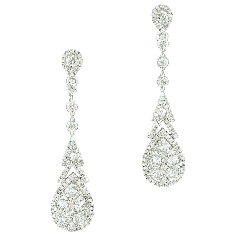 1.50 Carat Certified Diamond Dangle Earring in 18 Karat White Gold