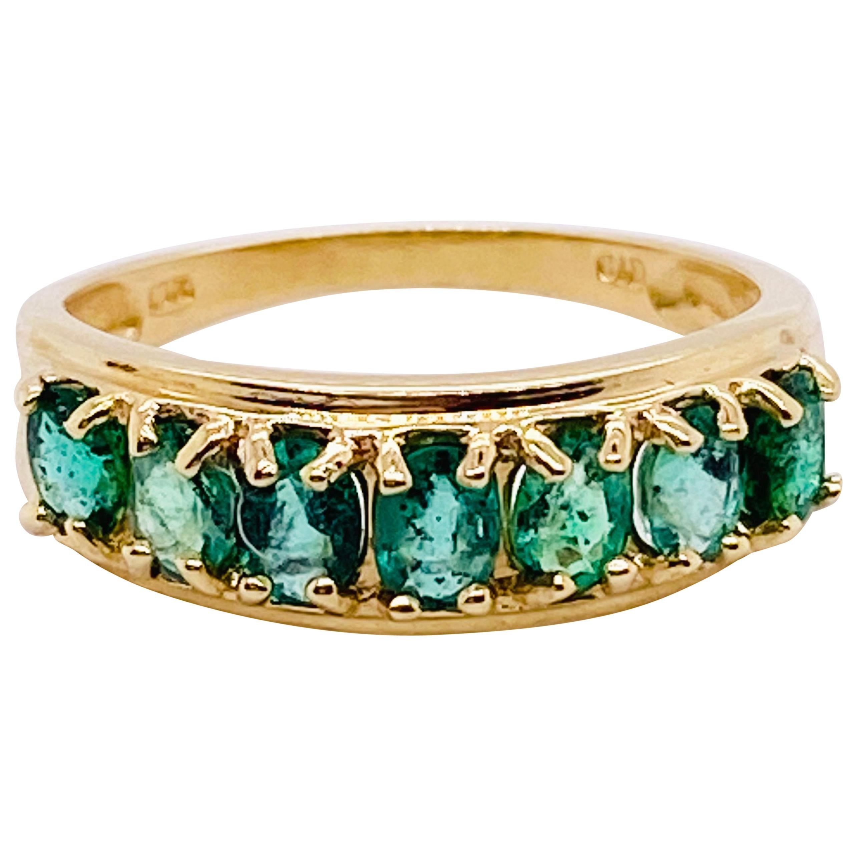 1.50 Emerald Ring, 7 Emerald Band, Wedding Band, Stackable Band, 1.50 Carat