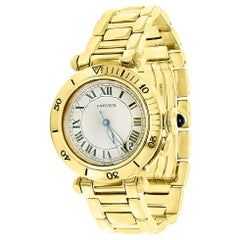 150 Gm 18 Karat Solid Yellow Gold Cartier Pasha Automatic Watch Water Resistant