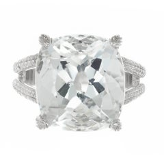15.00 Carat Aquamarine Micro Pave Diamond Platinum Cocktail Ring