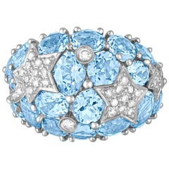 15.00 Carat Blue Topaz and Diamond Gold Dome Ring