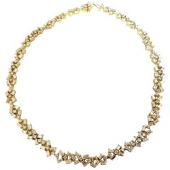 15.00 Carat Diamonds Baguette and Rounds Eternity Riviera Necklace 18 Karat