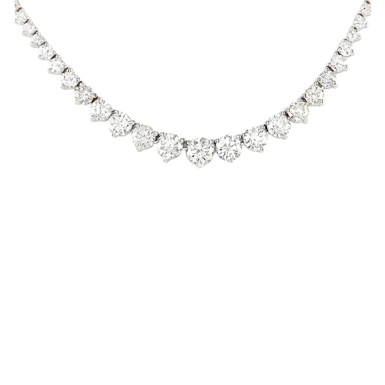 15.00 Carat Natural Diamond 18K Solid White Gold Necklace Item Type: Necklace Item Style: Tennis Item Length: 17 Inches Material: 18K White Gold Mainstone: Diamond Stone Color: F-G Stone Clarity: VS2-SI1 Stone Weight: 15.00 Carat Stone Shape: