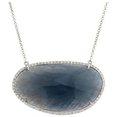 15.00 Carat Natural Sapphire Diamond Gold Pendant Necklace