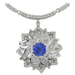 15.00 Carat Tanzanite 18 Karat White Gold Diamond Necklace