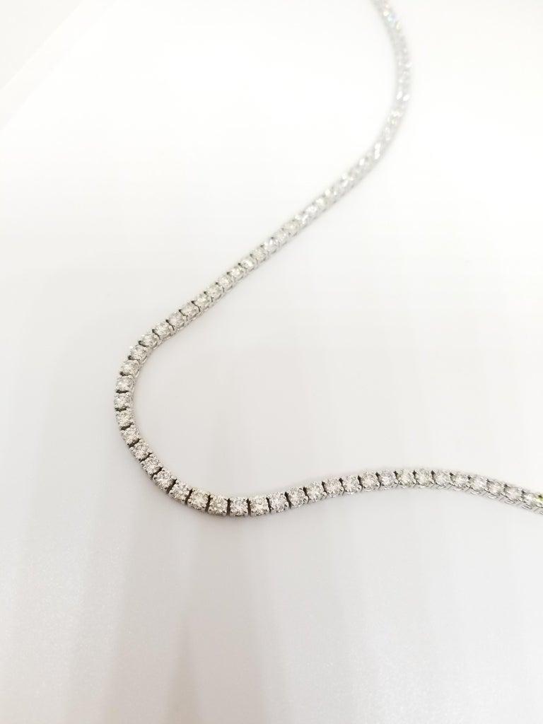 Round Cut 15.00 Carat Round Diamond White Gold Tennis Necklace For Sale