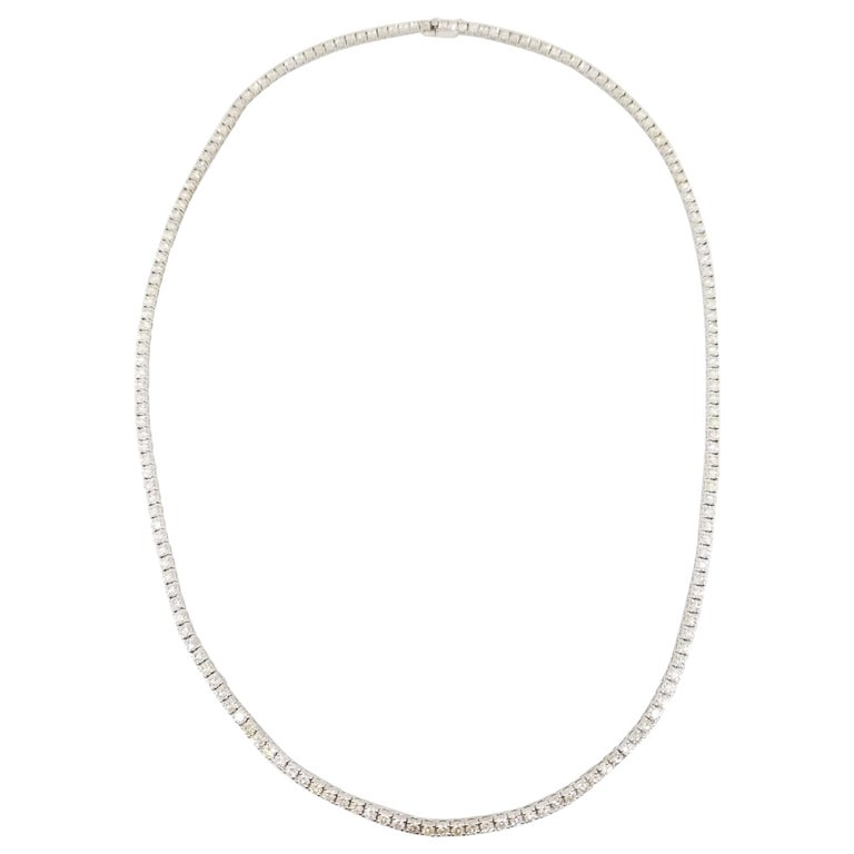 15.00 Carat Round Diamond White Gold Tennis Necklace For Sale