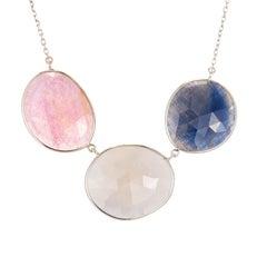15.00 Carat Sapphire Rose Cut Slices Gold Necklace Pendant