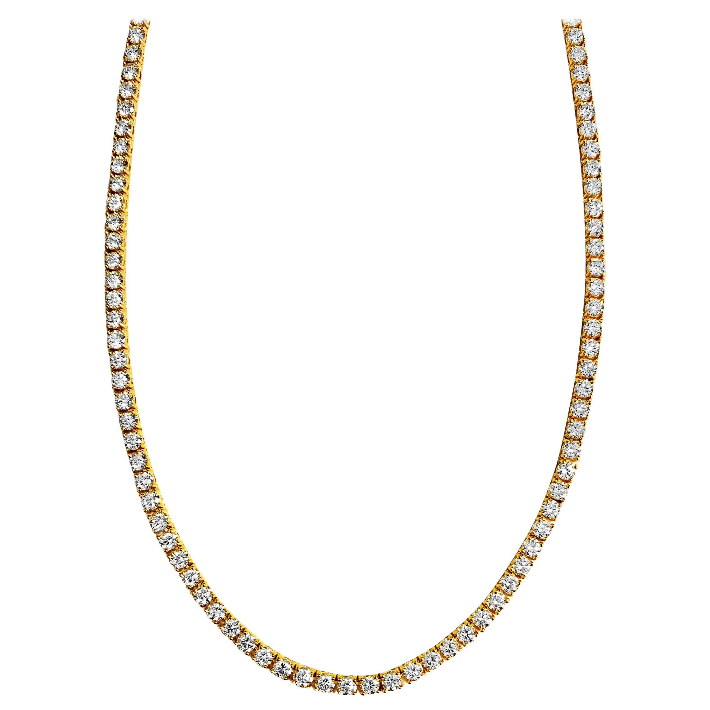 15.00 Carat VVS Diamond Tennis Necklace in 14 Karat Yellow Gold