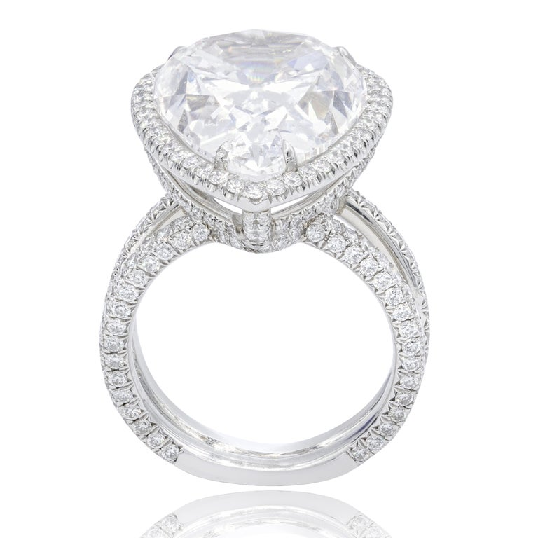 Pear Cut 15.01 Carat F-SI2 Pear Shaped Diamond Ring For Sale