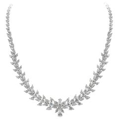 15.01 Carat Fancy Shape Diamond Cluster Necklace in 18 Karat White Gold