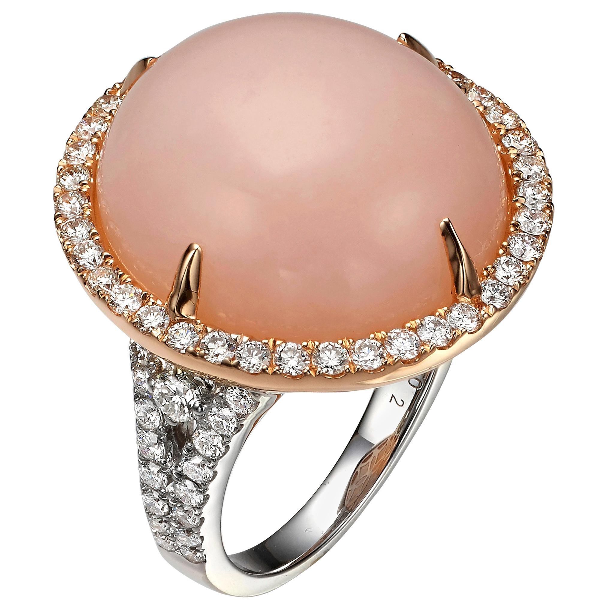 15.03 Carat Pink Opal and Diamond 18 Karat Rose and White Gold Cocktail Ring