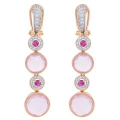 15.03 Carat Rose Quartz Ruby Diamond 18 Karat Yellow Gold Earrings
