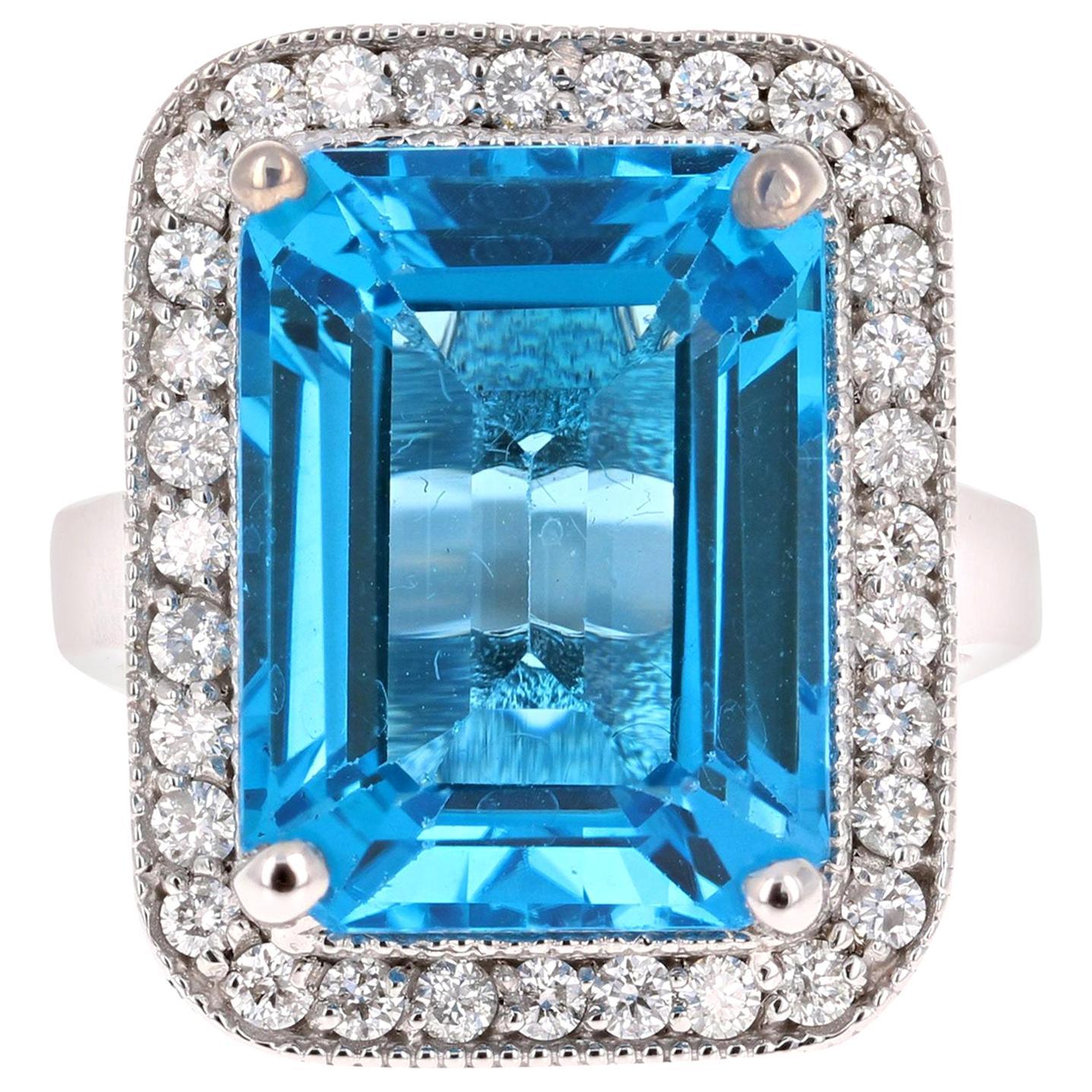 15.05 Carat Blue Topaz Diamond 14 Karat White Gold Cocktail Ring