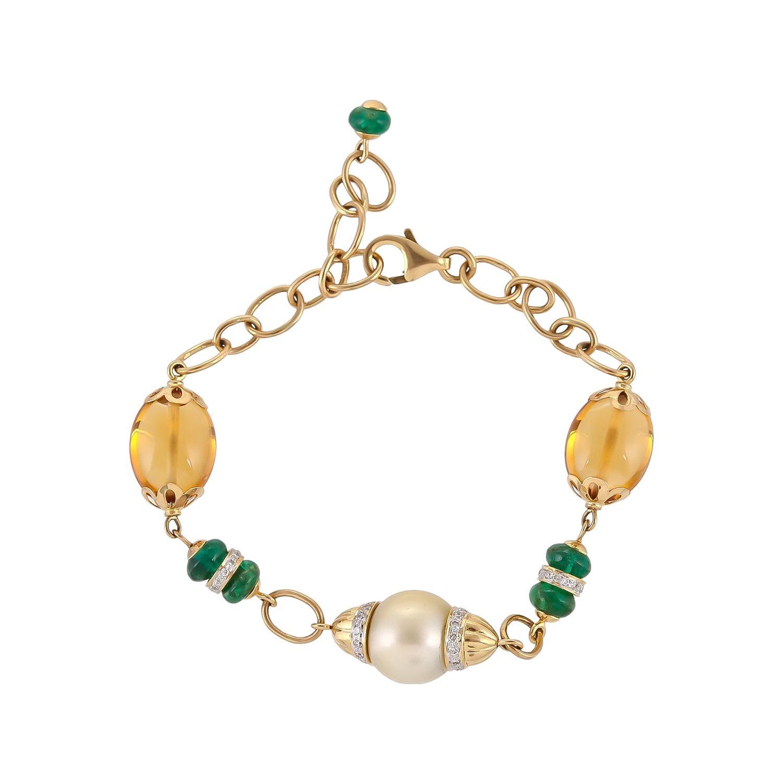 15.08 Carat Citrine Emerald South Sea Pearl 18 Karat Yellow Gold Bracelet