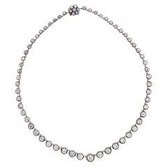 15.09 Carat Old Cut Diamond Victorian Revival Necklace