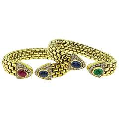 1.50ct Diamond 4.00ct Sapphire 2.00ct Ruby 1.50 Carat Emerald Gold Bangle Set