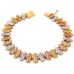 1.50CT Diamonds Bar Linked Tri-color 18KT Gold Bracelet Satin Brush Finish