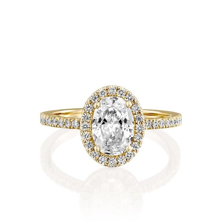 Art Deco 1.50 Carat GIA Oval Halo Diamond Ring, 18 Karat Yellow Gold Oval Cut Ring For Sale