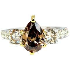 1.50 Carat Natural Fancy Brown and 1.30 Carat Diamonds Mod Three Ring 14 Karat